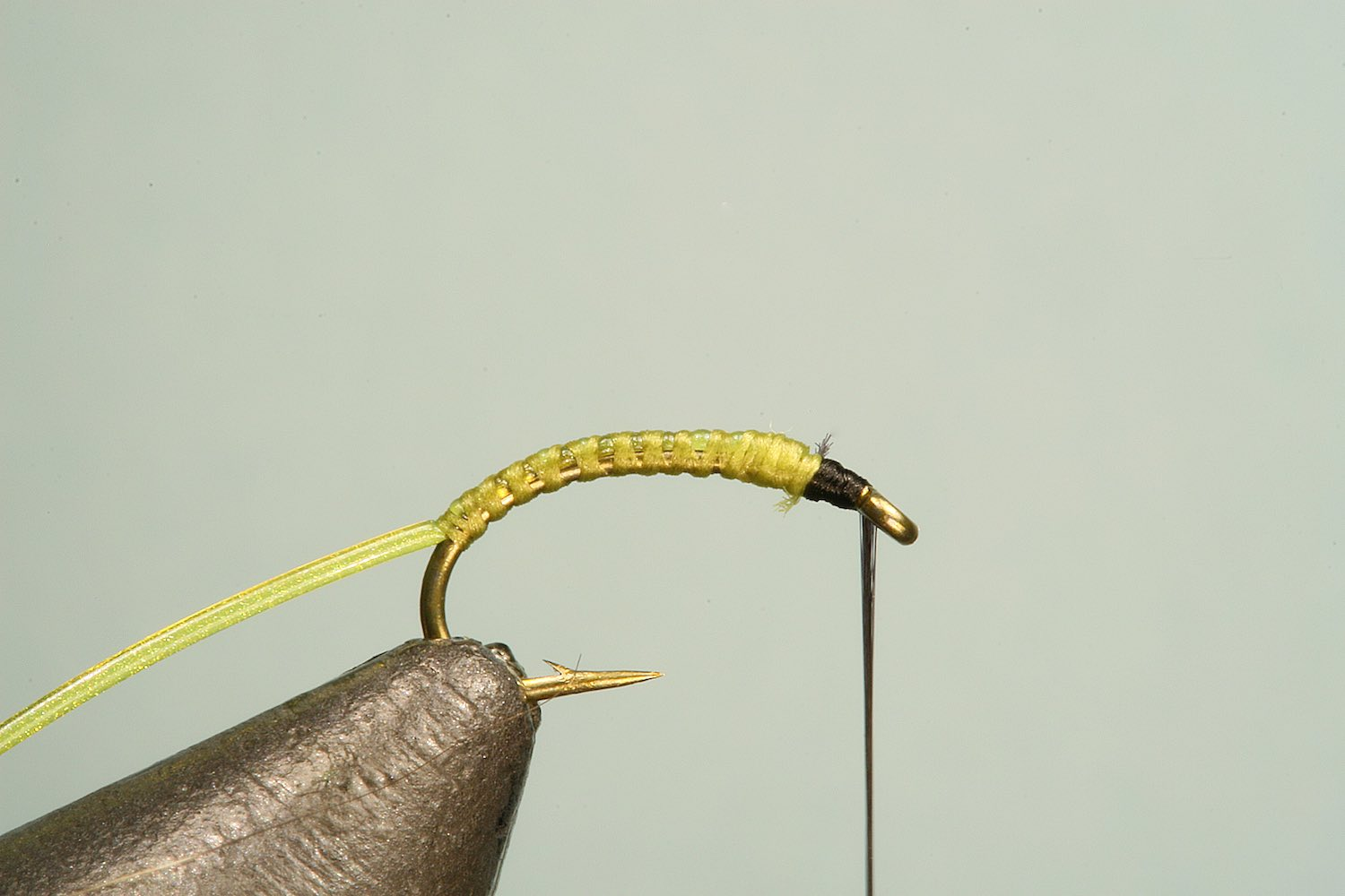 Step 2 of tying sequence for jelly bloodworm fly pattern