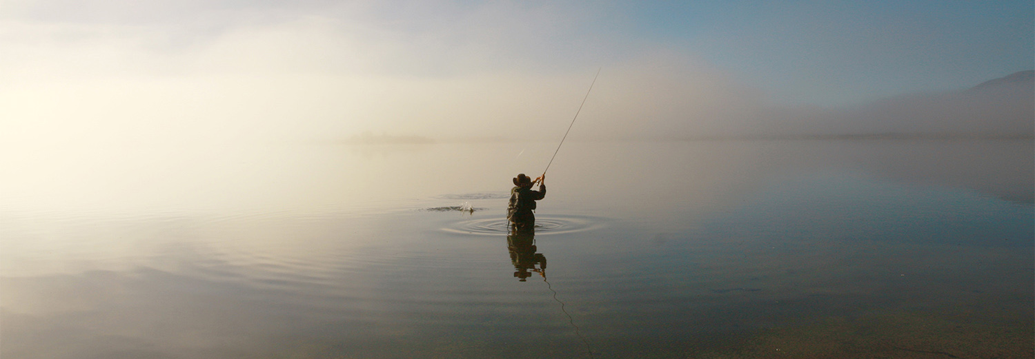 fly fisherman with a fish on the line, standing waist deep in misty lake with silvery morning light illuminating mist. Silverwater fly fishing